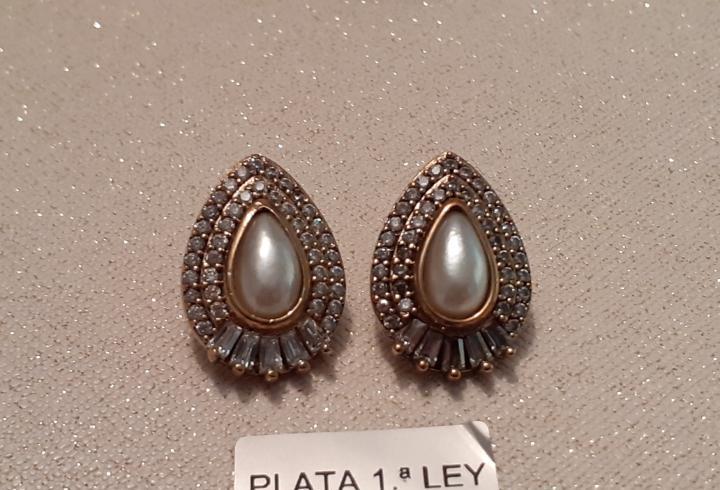 Pendientes de plata topacios y perla