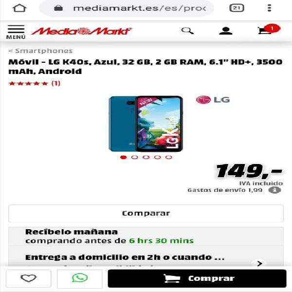 Smartphone precintado lg k40s