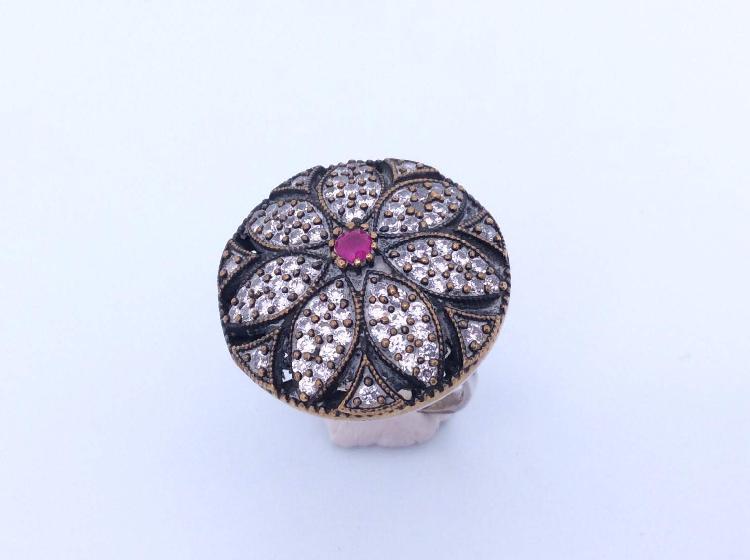 16 % anillo plata primera ley (plata 925mm con piedra)