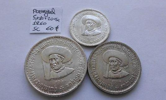 5, 10 y 20 escudos de plata de portugal de 1960