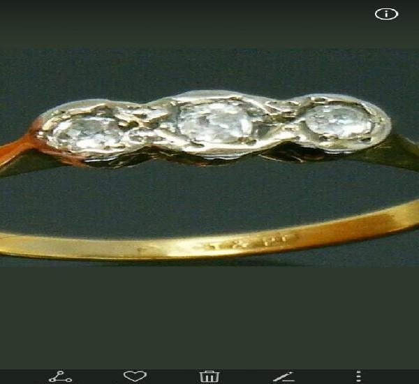 Antiguo anillo de oro 18k, platino y diamantes naturales,