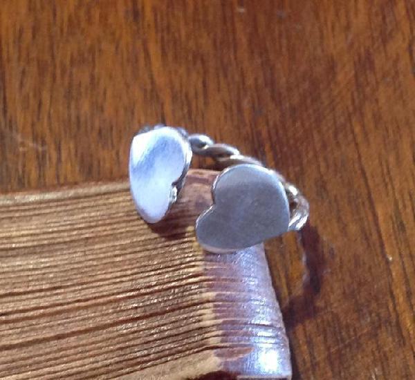 Anillo de plata de los años 60. corazones. abierta. vintage