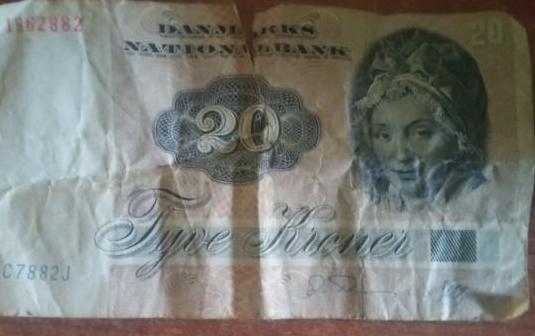 Billete 20 danmarks 1972.