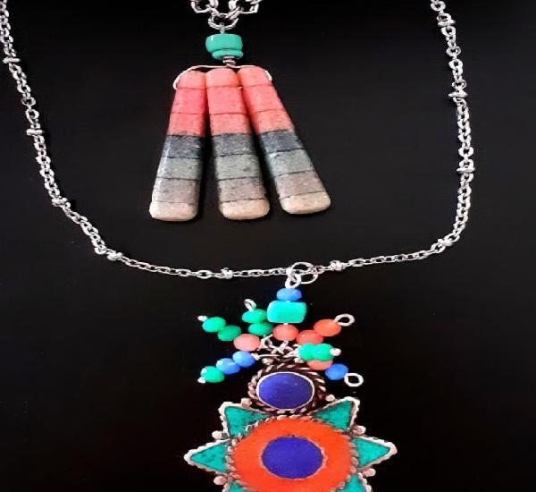 Collar con doble cadena y colgante étnico turquesa, coral,