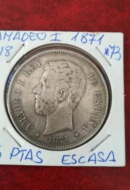 Escasa 5 pesetas amadeo i