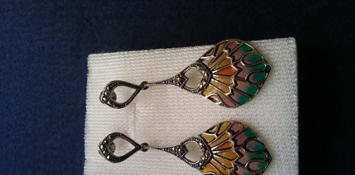 Hermosos pendientes estilo art nouveau plata y esmalte