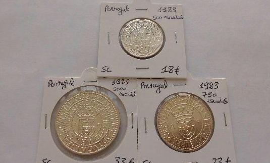 Portugal 500, 750 y 1000 escudos de plata de 1983