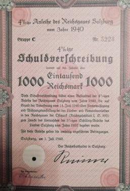 Certificado de guerra nazi del año 1940