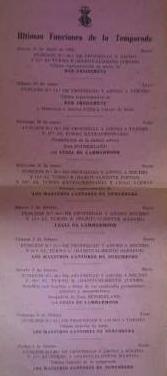 Ultimas funciones de la temporada 1962