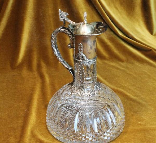 Jarra de cristal tallado y vidrio, altura 31 cm, diámetro