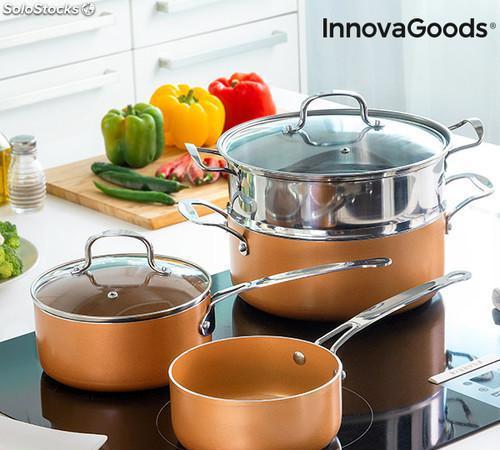 Batería de cocina con vaporera copper-effect innovagoods (6