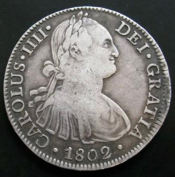 8 reales de plata carlos iv 1802 m ebc- patina