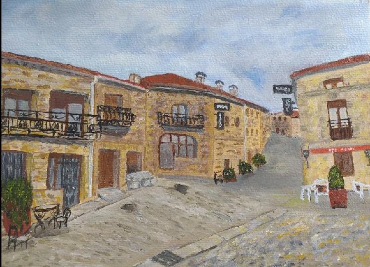 Pueblo pintado en acrilico