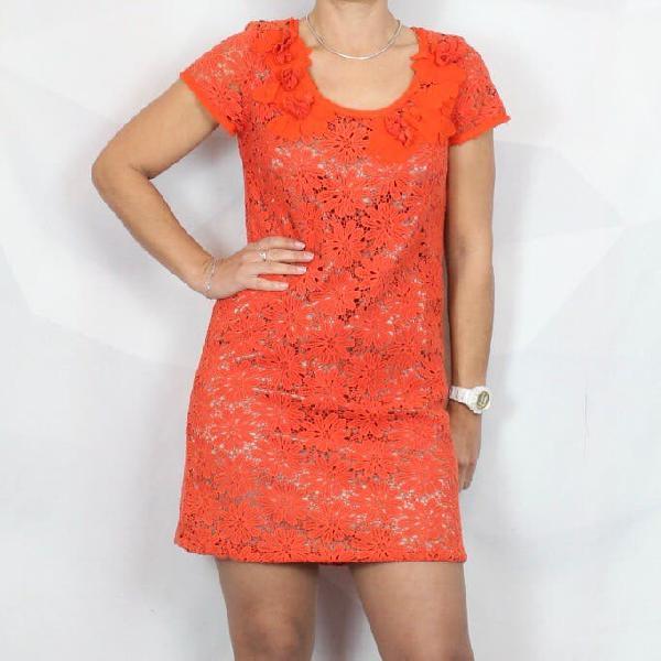 Vestido crochet rojo coral annarita n
