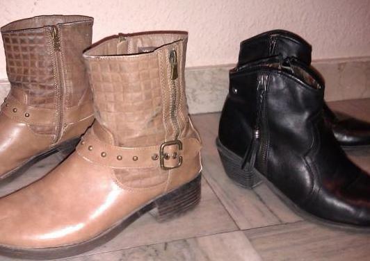 2 botines piel mustang,negro y marrón-40