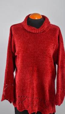 Ancho jersey de lana chenille, en granate. talla m