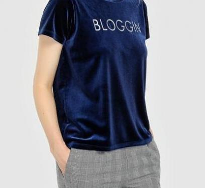 Camiseta terciopelo azul talla m