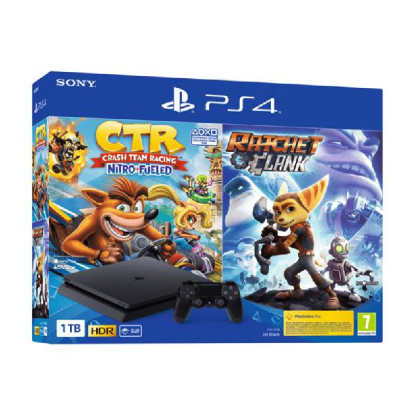 Ps4 slim negra 1tb + crash bandicoot nitro fueled+ ratchet &