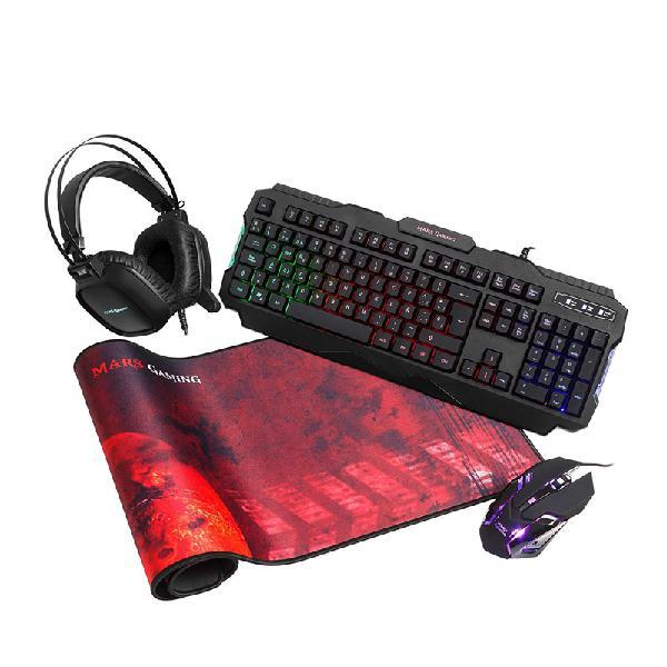Pack mars gaming mcprgb teclado raton headset y alfombrilla
