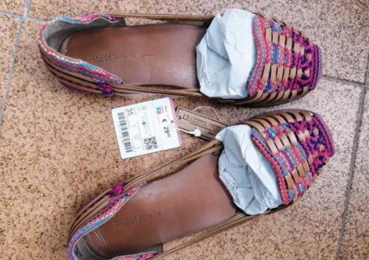Zapatos piel étnicos zara talla 35