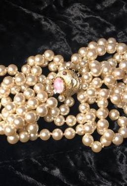 Collar perlas tres vueltas vintage años 60