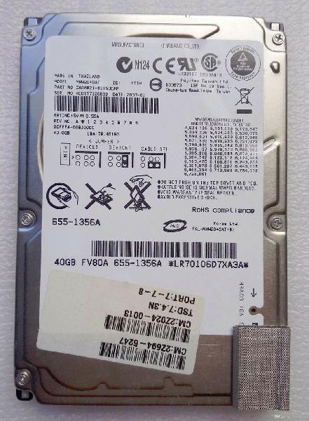 "Disco duro hd ide 40gb 2.5"" para portatil"