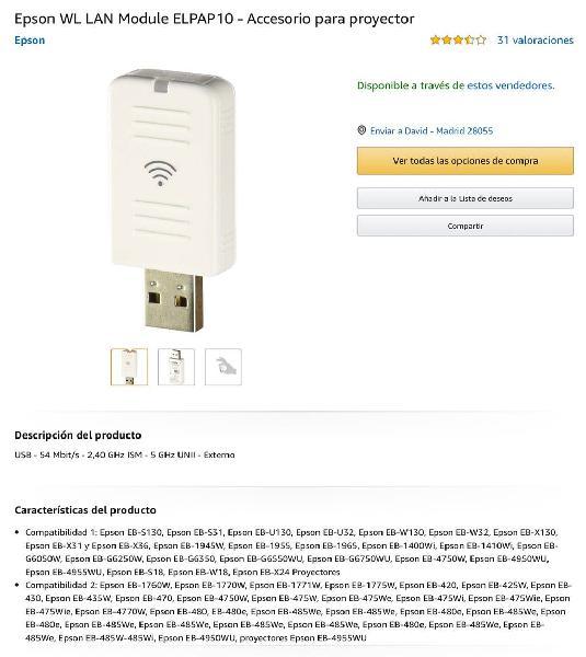 Epson wireless adaptador nuevo sin usar