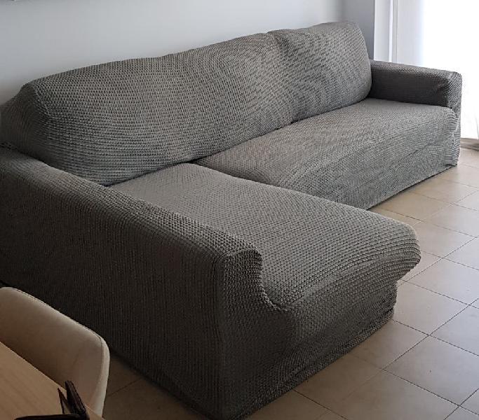Funda de sofá chaise longue gris claro