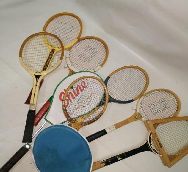 Lote de 8 raquetas antiguas atrezo vintage