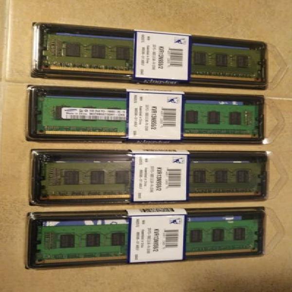 Lote de 4 memorias ram 2gb pc3 kingston