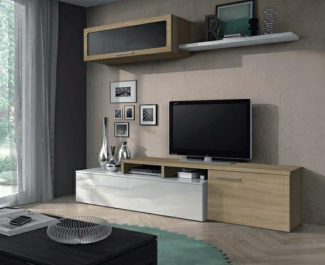 Mueble salon 3 módulos roble y blanco