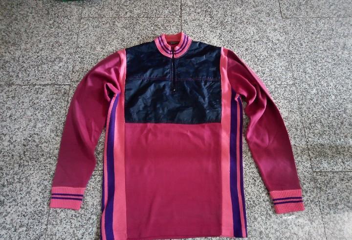 Maillot rosa y azul manga larga ciclismo vintage con zona