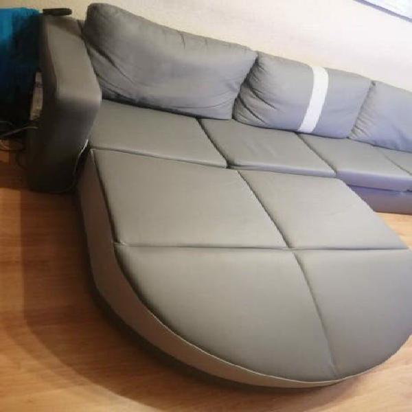 Sofá sofá gris de piel 4 plazas chaiselonge