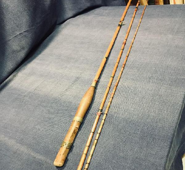 Antigua caña de pescar bambú caña no carrete cerca de 3m