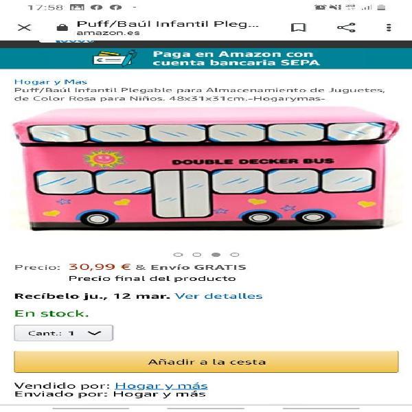 Puff o baúl niñ@ tengo en roza y azul precio 19,99