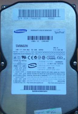 Disco duro samsung 60gb ide sv0602h