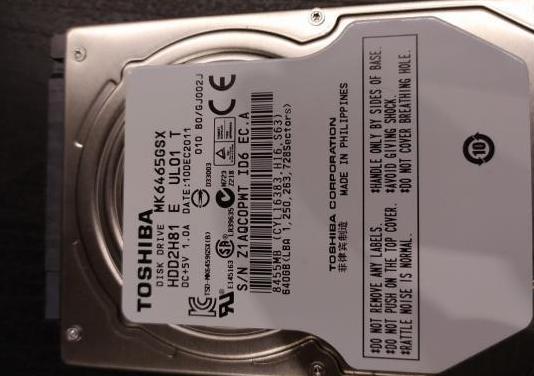Disco duro toshiba sata 2.5, 640gb