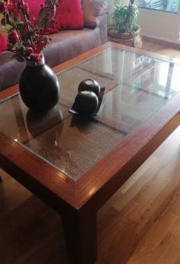 Mesa de centro madera maciza de nogal