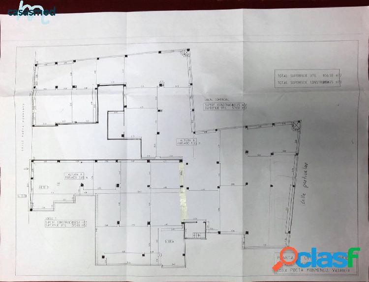 Zona calle sagunto, local comercial de 900 m2 con 5 puertas a la calle y 2 plazas de garaje