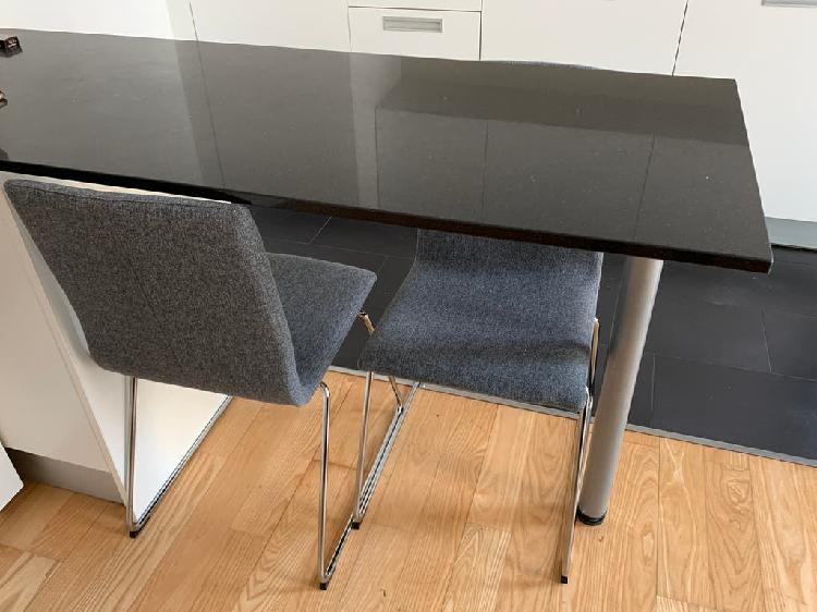 2x sillas de tela y metal - gris oscuro