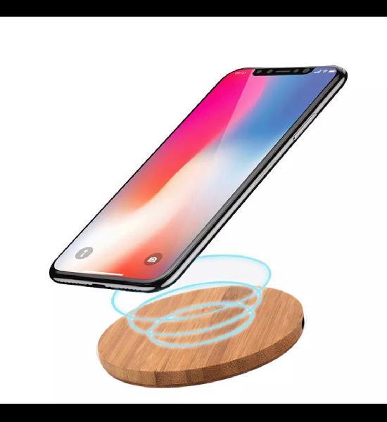 Cargador qi wireless madera nuevo !!