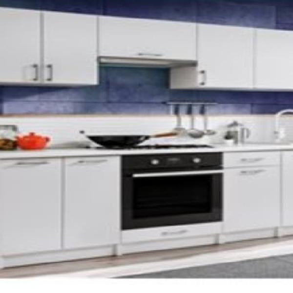 Cocina 240cm blanco alto brillo