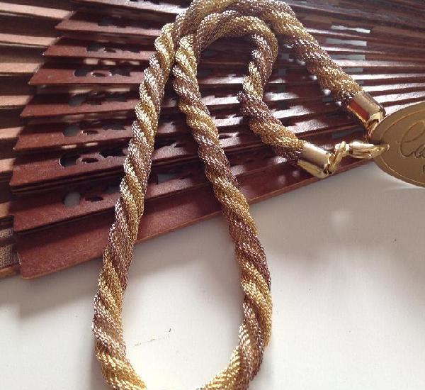 Collar chapado en oro de 18k. trenzado. vintage. calidad.
