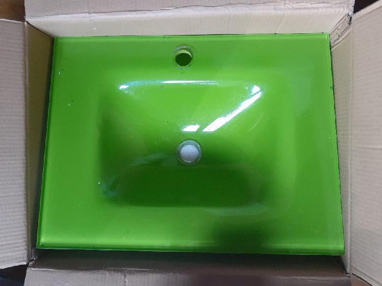 Encimera lavabo cristal templado verde