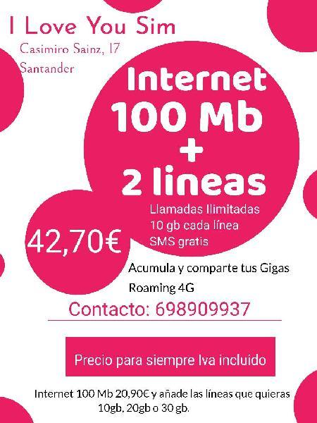 Internet para casa y 2 líneas móviles