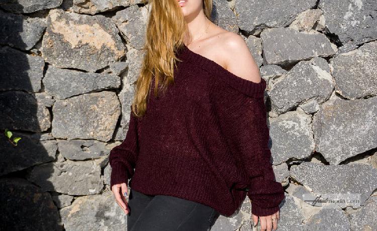 Jersey manga larga tejido color borgoña