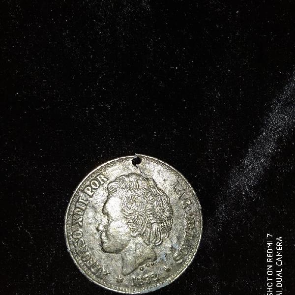 Moneda 5 pts año 1892