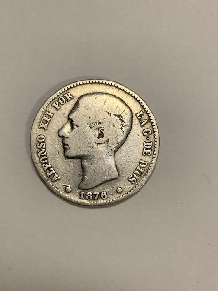 Moneda plata 1 peseta 1876 *76 alfonso xii
