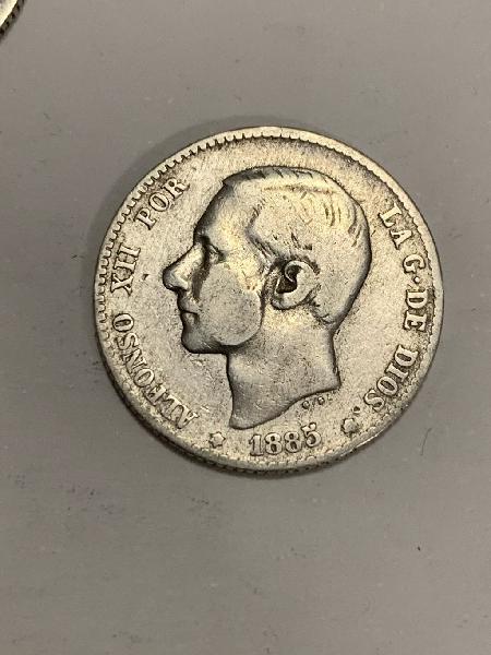 Moneda plata 1 peseta 1885 alfonso xii