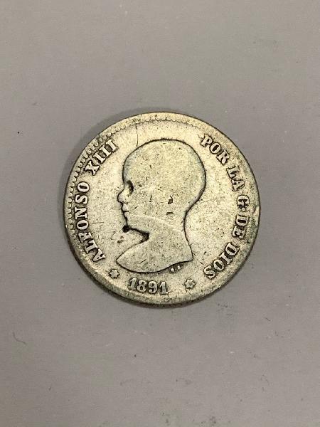 Moneda plata 1 peseta 1891 *91 alfonso xiii